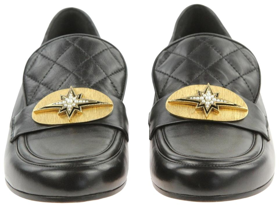 c1a3f7d42fa Chanel Black Leather Pearl Star Gold Plate Quilted Cc Logo Loafers Flats