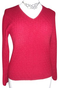 ML STUDIO Cashmere V-neck Cable Knit Sweater