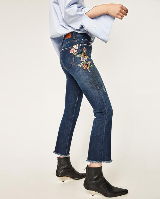 Zara Embroidered Floral Midrise Capri/Cropped Pants Blue