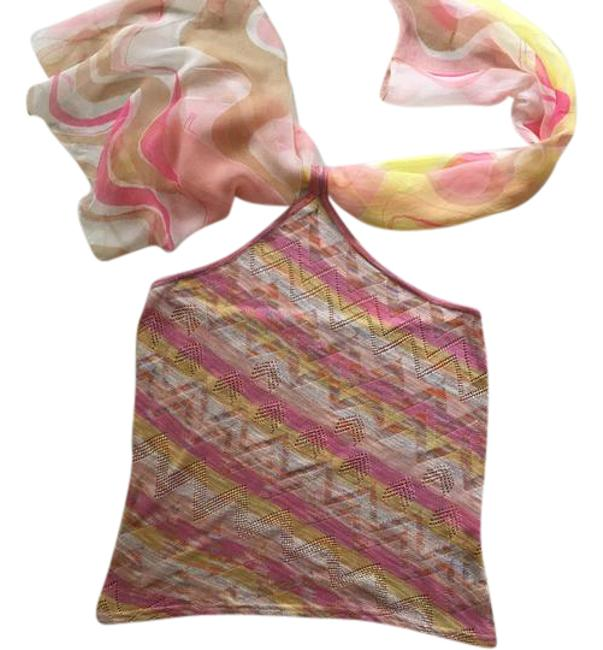 Item - Multi Color Pink Lime Green Tan Mustard With Flowing Scarf Halter Top Size 6 (S)