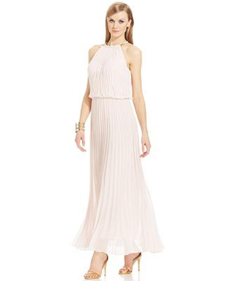 Msk Pink Limited Pleated Blouson Hardware Halter Maxi Long Formal
