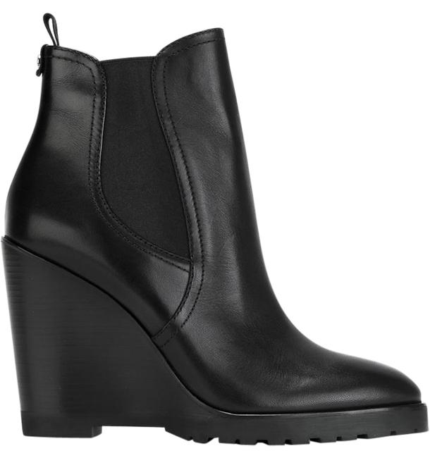 Item - Black Leather Slip On Wedge Ankle Boots/Booties Size US 7 Regular (M, B)