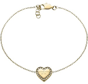 Michael Kors Extra Box/Pouch Set with the Crystal Heart Charm Bracelet