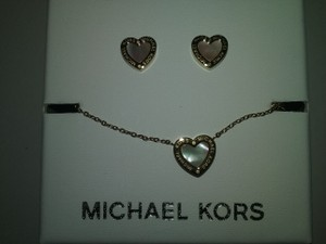 Michael Kors 3 PIECE SET-Mother of Pearl Necklace-Earrings set & Heart Bracelet