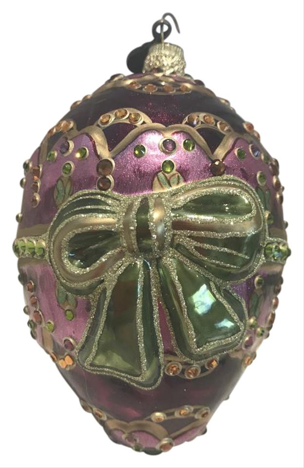 Jay Strongwater Purple Mauve Gold Green Christmas Ornament W Swarovski Crystals Msrp 33 Off Retail