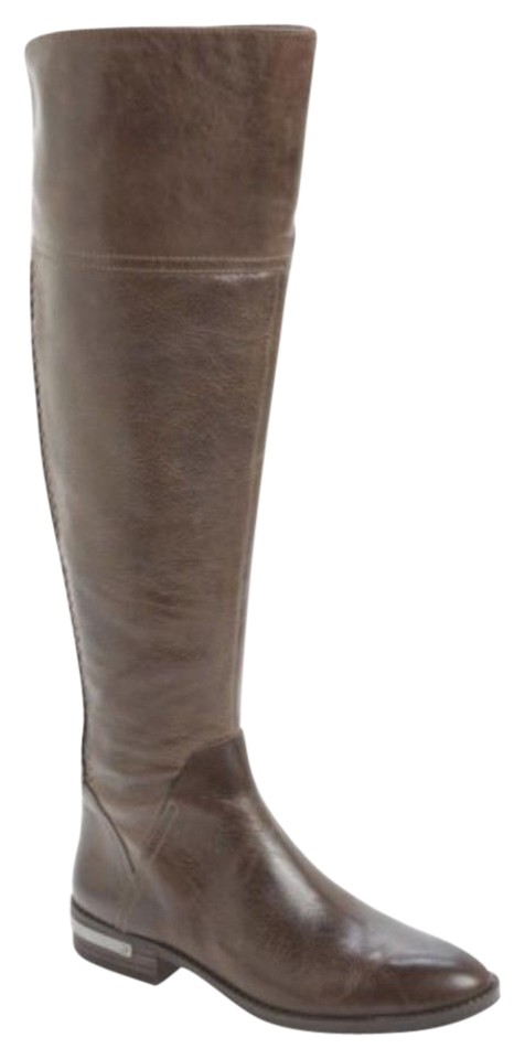 662c87ab562 Vince Camuto Grey Distressed Pedra Over The Knee Leather Boots Booties