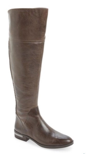 Vince Camuto Leather Riding Over The Knee Grey Distressed Boots