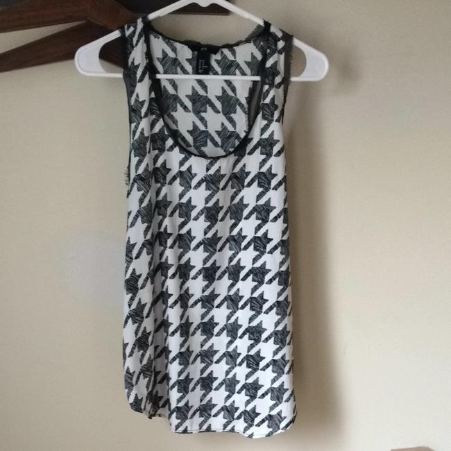 H&M Houndstooth Tank And White Top Black