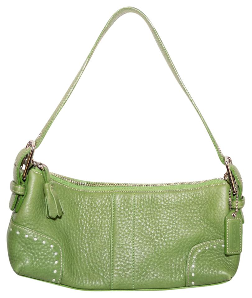 78d4a3dcb01a Coach Hamptons Style Hand Shoulder Baguette Green Pebble Leather. Trinity  Ranch Red Leather Hobo Style Purse