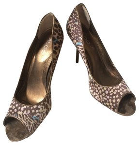 ALDO Satin Peep Toe Bronze Animal High Heel Trim Print Pumps