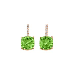 Marco B Peridot CZ Drop Style Stud Earrings Rose Gold Vermeil