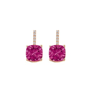 Marco B Drop Style Square Pink Sapphire CZ Earrings Vermeil