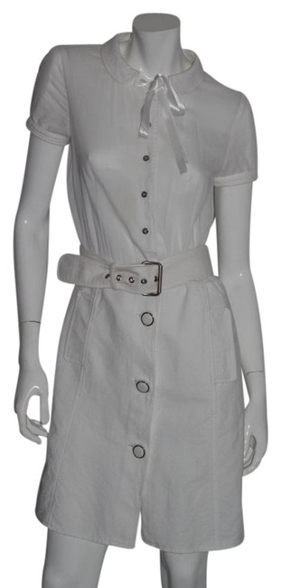 Item - White Cotton Belted Short Casual Dress Size 6 (S)