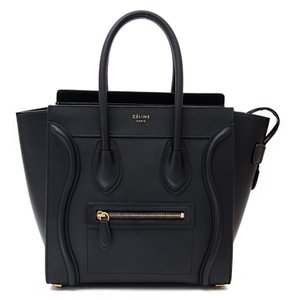 Cline Micro Micro Luggage Luggage Luggage Tote in Black Smooth Calfskin Celine