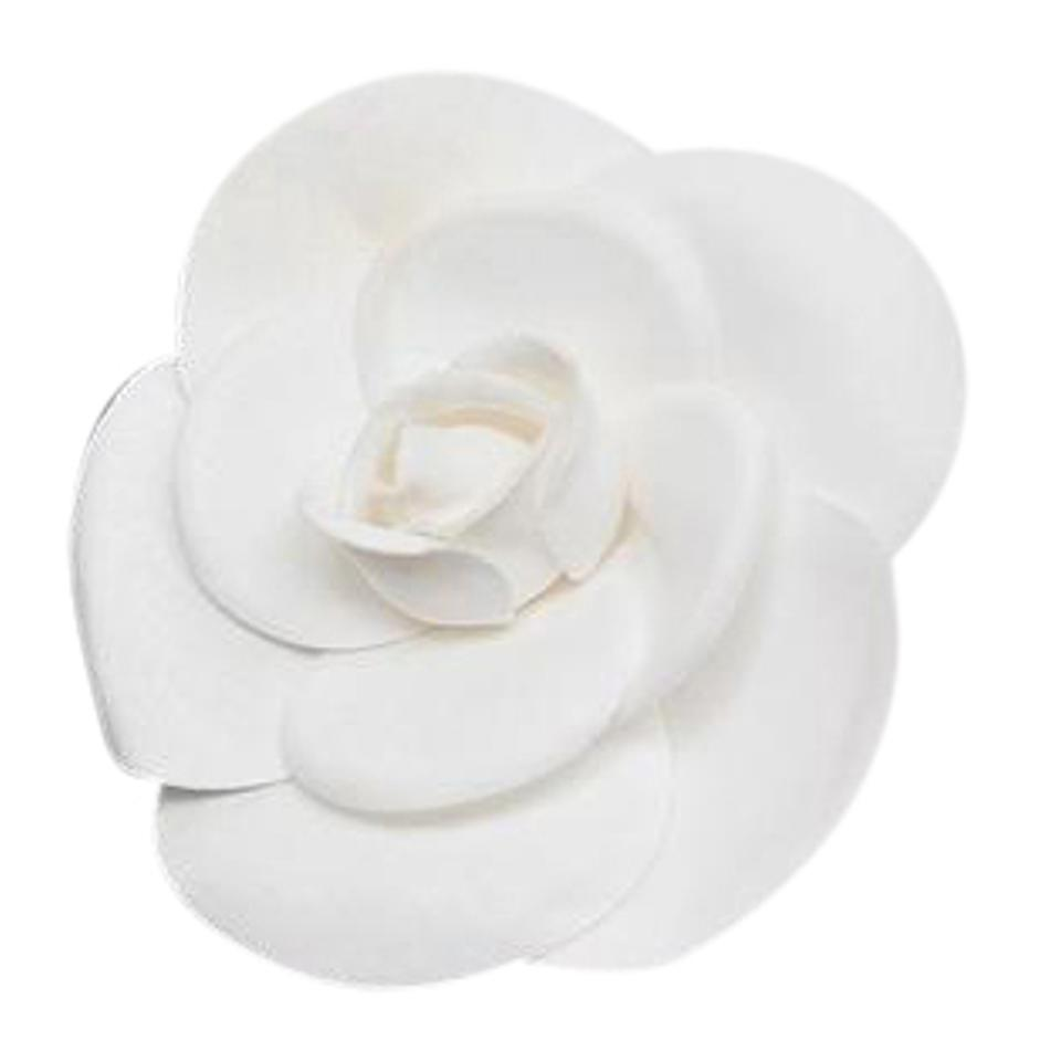 Chanel white camellia flower brooch pin mint in box lightly coated chanel chanel camellia flower brooch pin mint in box white lightly coated mightylinksfo