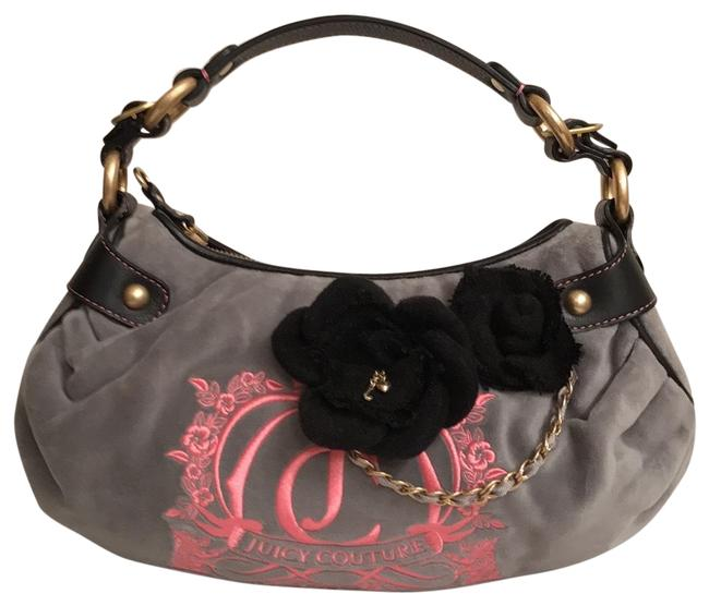 Item - Embroidered Flower Detail Gray Black Pink Velour Shoulder Bag