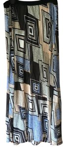 Pleione Plus-size Elastic Waistband Lined Polyester/Rayon Maxi Skirt Brown Moss Orange Blue Tan