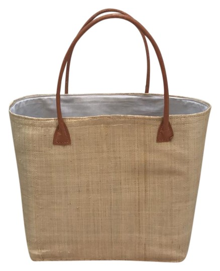 Tote Tan/Natural Straw/Leather/Cotton Closure Beach Bag
