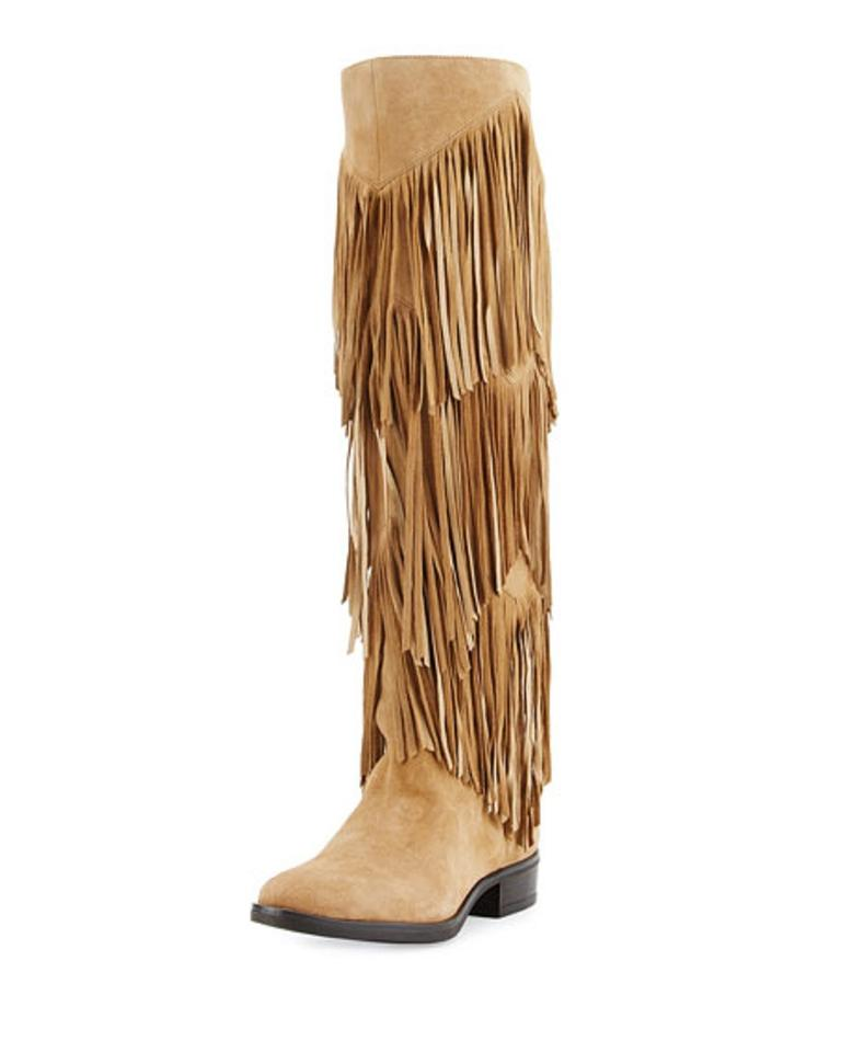 140f653c7a8d4 Sam Edelman Oatmeal Pendra Fringe Suede Leather Knee High Boots Booties