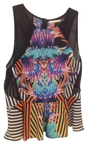 Zio Fun Sheer Sleeveless Top Black with multicolor print