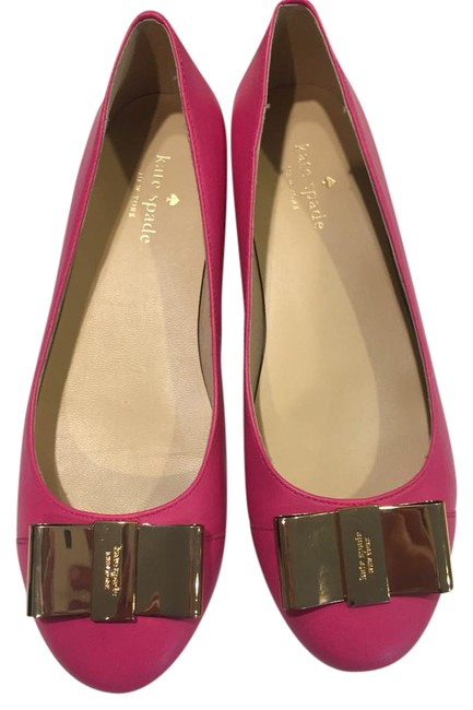 Item - Pink Leather Gold Bow Flats Size US 7 Regular (M, B)
