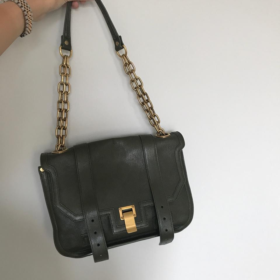 Proenza Schouler Ps1 Chain In and Matte Gold Army Green Leather ... cee4cc04a45de
