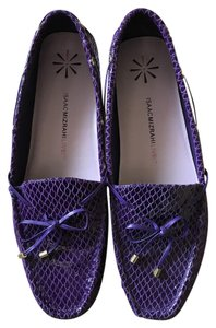 Isaac Mizrahi Live! Leather Driver Snakeskin Look Goldtone Accents String Tie Purple Flats