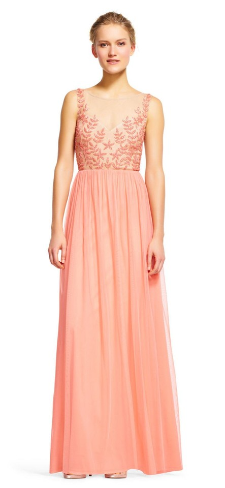 04b2c06b Adrianna Papell Coral Beaded Illusion Long Formal Dress Size 6 (S ...