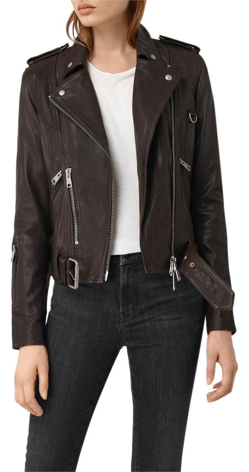 8a20a73d4 AllSaints Oxblood Red Gidley Leather Biker Jacket Size 10 (M) 56% off retail