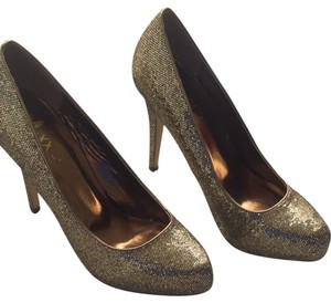 10ad109c0ab2e9 Mixit Glitter High Heel Fashion Gold Pumps