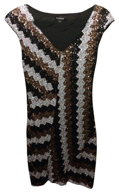 Item - Black Copper and White Tri Color Sequins Night Out Dress Size 00 (XXS)