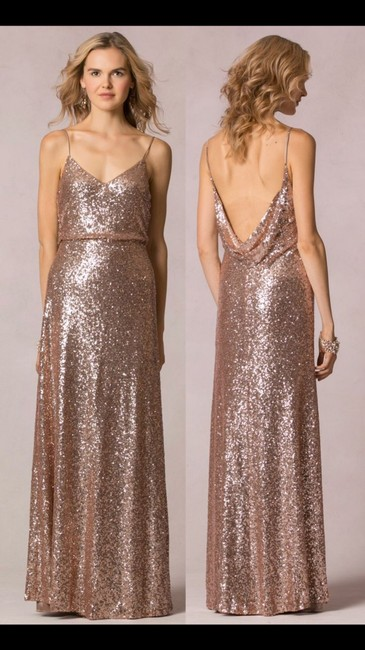 Item - Rose Gold Sequins 1631 Formal Bridesmaid/Mob Dress Size 4 (S)