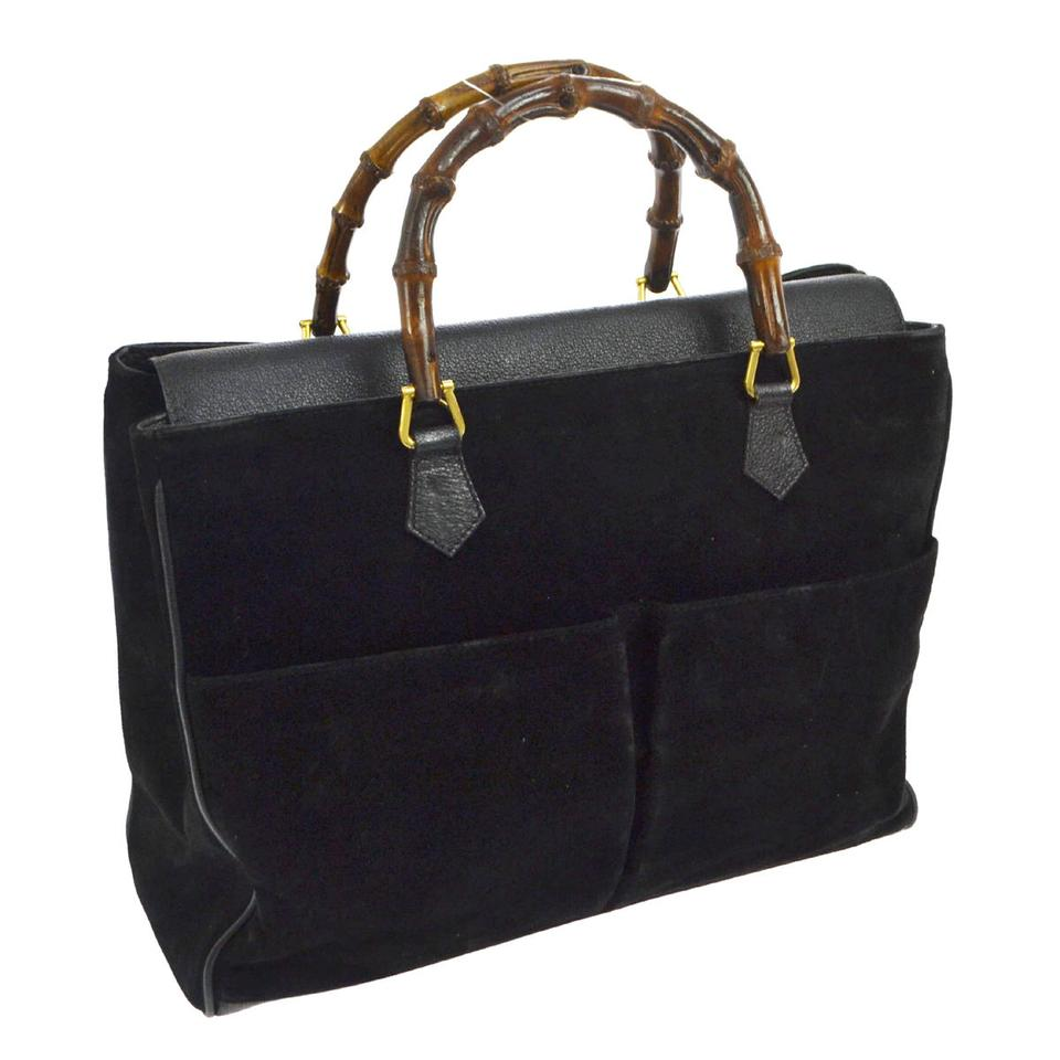 23e36fa3bd75 Gucci Bamboo Handles Equestrian Accents Exterior Pockets Xl Satchel/Tote  Two-way Style Satchel ...