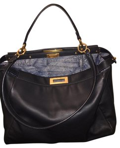 Fendi Peekaboo Handbag Leather Satchel in Navy Blue
