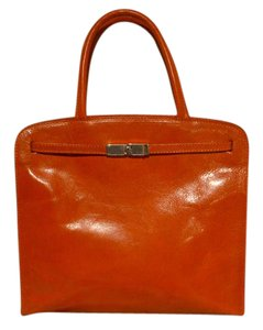 Furla Lined Leather Silver Hardware Satchel in Orange