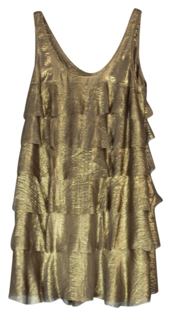 Item - Gold Golden Tiered Ruffle Gatsby Party Short Night Out Dress Size 8 (M)