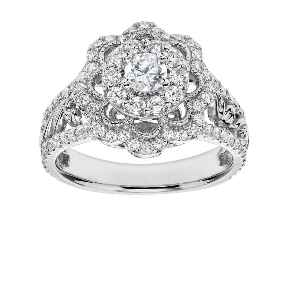 simply vera vera wang white gold diamond flower engagement in 14 carat 1 carat tw ring tradesy - Vera Wang Wedding Ring