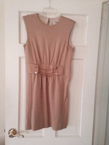 MILLY Designer Knee Length Tan Casual Stretch Knit All Year Sleevesless Casual Tan Everyday Work Designer Stretch Dress
