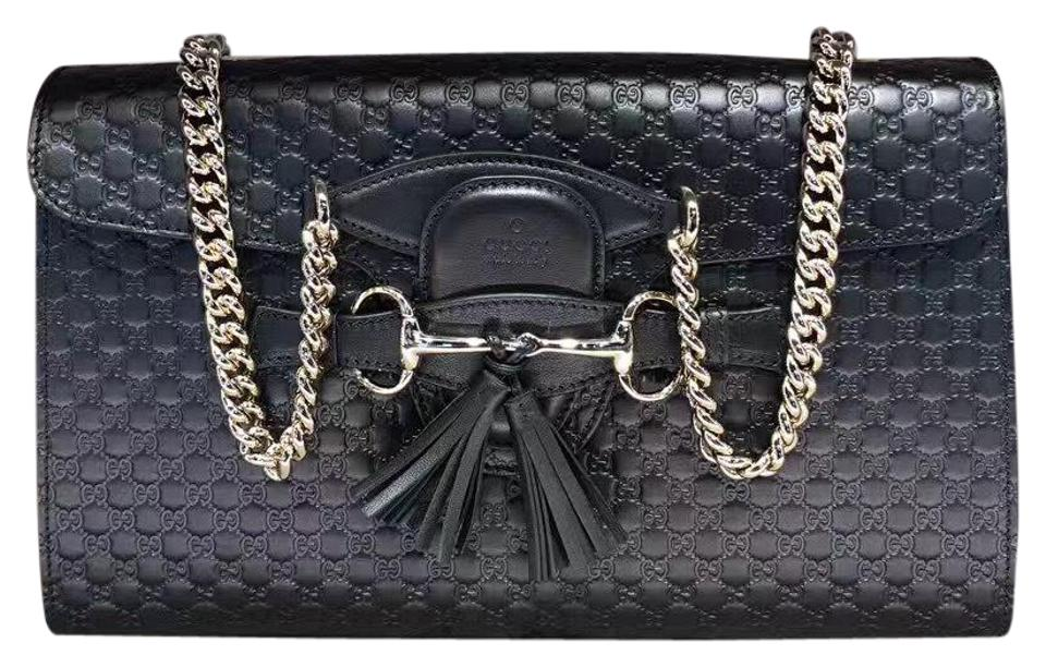 20dca0ce3ed Gucci Emily Gg Leather Black Shoulder Bag - Tradesy