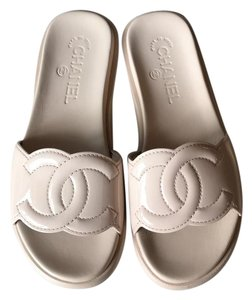 Chanel Mules Cc Flats Size 36.5 Beige Nude Sandals