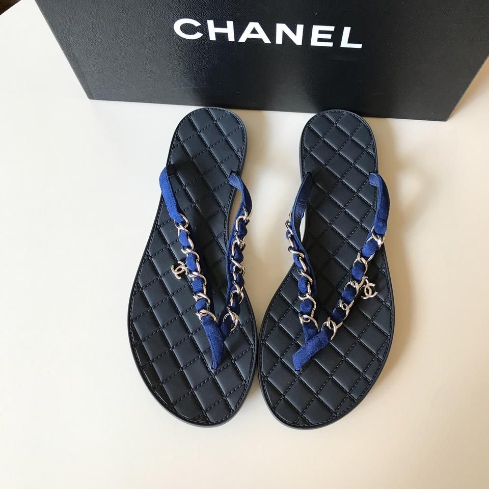 5c1f51cdbf70 Chanel Navy Blue Suede Silver Chain Flip Flats Thongs Sandals Size ...