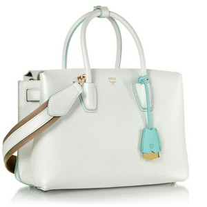 MCM Milla New Leather Satchel in Pearl