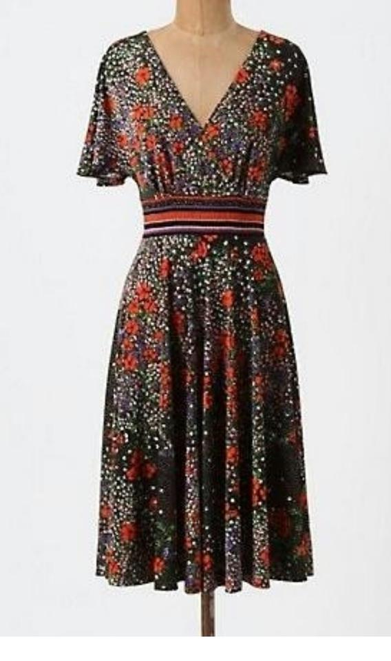c8b533d881bd Anthropologie short dress Black with Poppy Pattern Floral Defined Waist  Stretchy Comfortable Flattering on Tradesy Image. 123