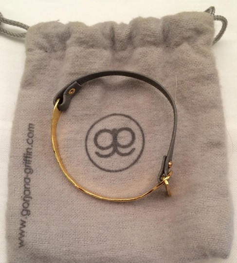 Gorjana Gorjana Cassia Bar Grey Leather Bracelet in Gold