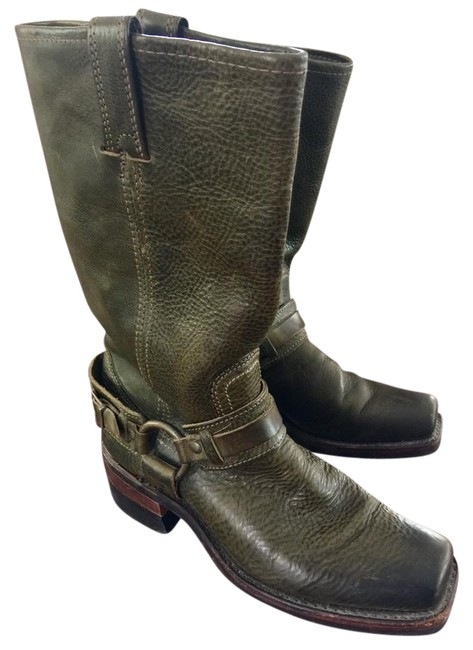 Item - Olive Green Belted Harness Boots/Booties Size US 7.5 Regular (M, B)