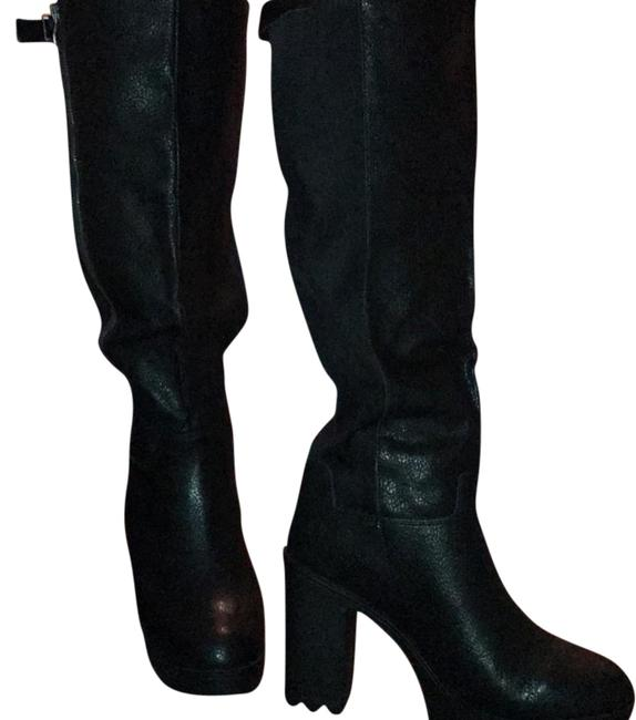 Item - Black Leather Chunky Heel Boots/Booties Size US 11 Wide (C, D)