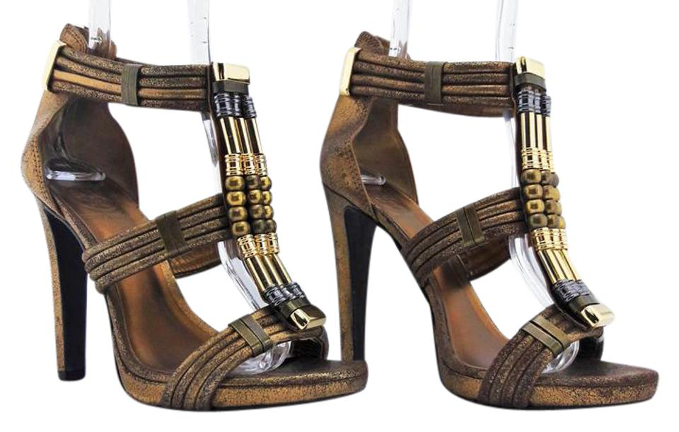 Tory Burch Bronze T-strap T 'carla' Leather Bead Embellished T-strap Bronze Stilettos Sandals a56c4f