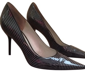 BCBG Black White Stripes Pumps