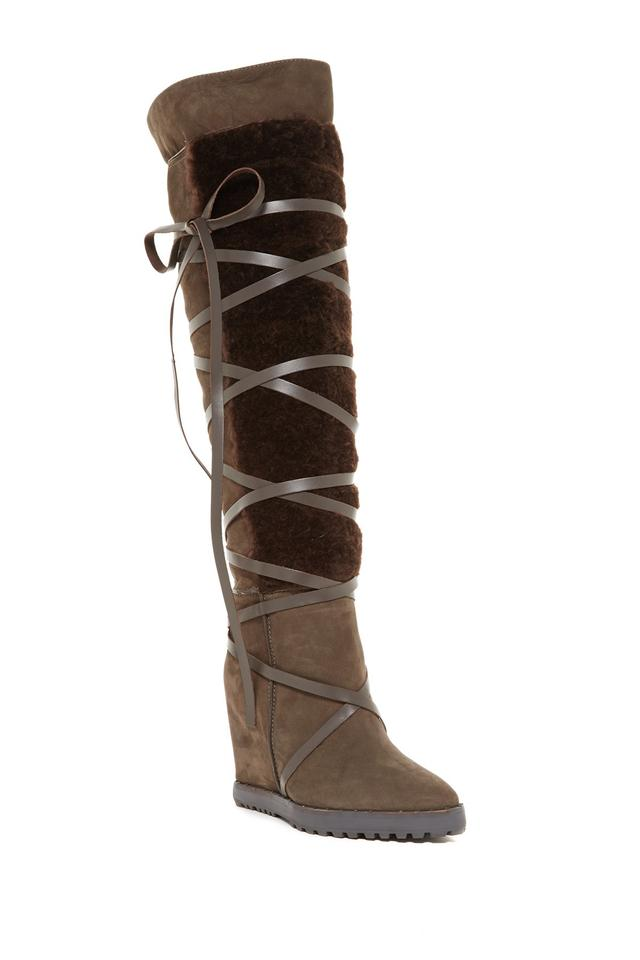 e898f849d165 Ivy Kirzhner Brown Truffle Wanderer Genuine Shearling Over-the-knee (X10)  Boots Booties