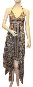 BCBGMAXAZRIA short dress Olive/Brown Silk Flowy Halter on Tradesy
